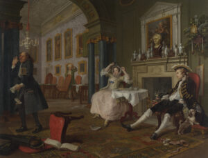 Marriage a la mode: the Tete a Tete, by William Hogarth, c1743. A couple pictured shortly after their wedding.